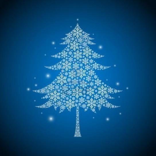 Cartolina di Natale blu e bianca