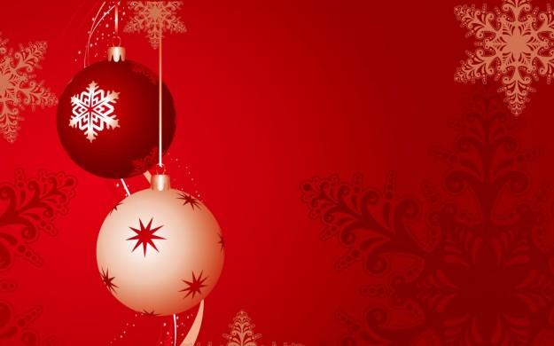 Buon Natale con palline rosse e bianche