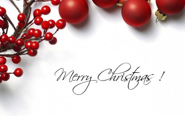 Merry Christmas con decorazioni rosse