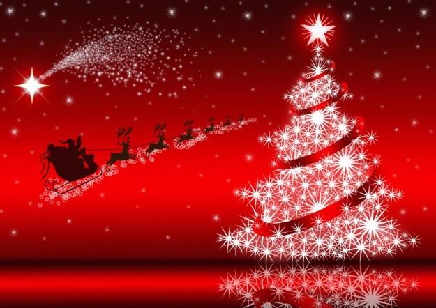 Babbo Natale, slitta, cometa e albero