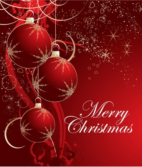 Merry Christmas con palline rosse