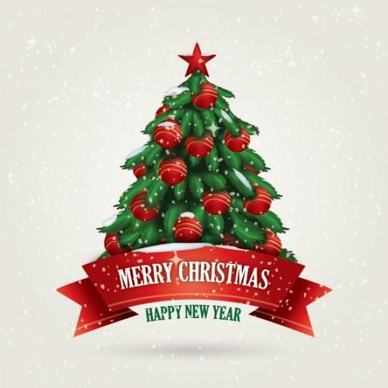 Albero di Natale con palline rosse
