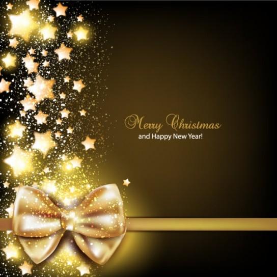 Auguri di Natale con fiocco dorato