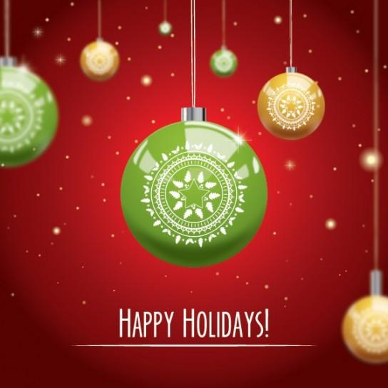 Happy Holidays con pallina verde
