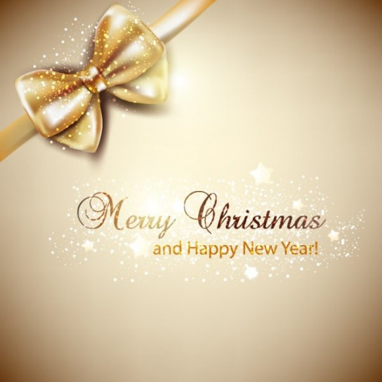 Merry Christmas con fiocco dorato
