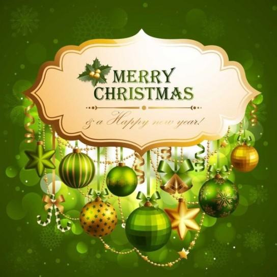 Merry Christmas con palline verdi