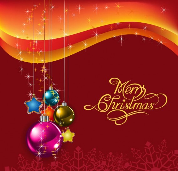 Merry Christmas con stelline e palline