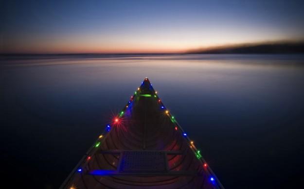 Luci di Natale sulla barca