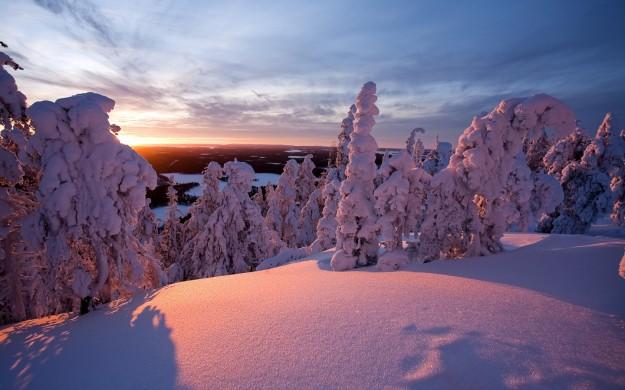 Tramonto con la neve