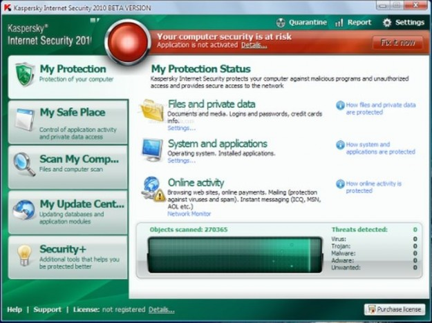 Kaspersky: protection status