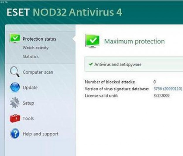 Nod32: protection status