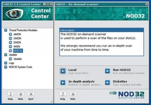 Nod32: schermata di scansione