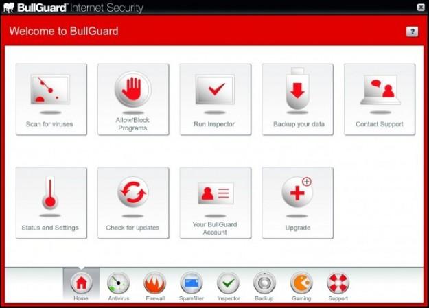 Bullguard: schermata iniziale