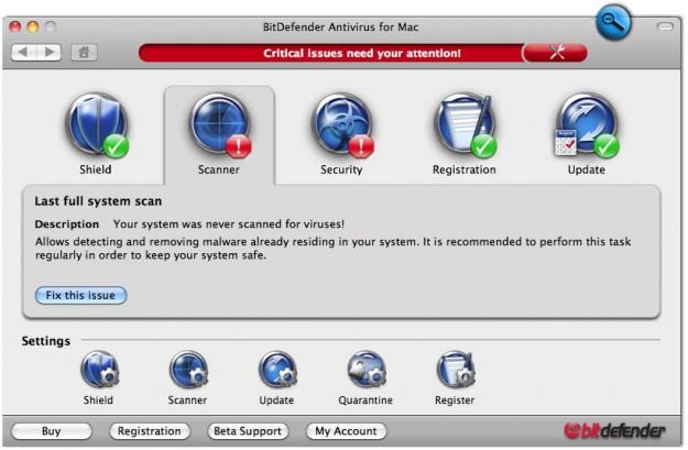 BitDefender Antivirus: scanner