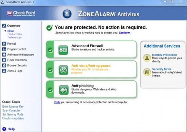 ZoneAlarm Antivirus: schermata iniziale