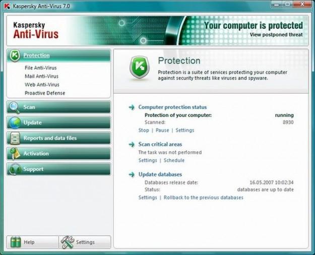 Kaspersky Antivirus: stato della protezione