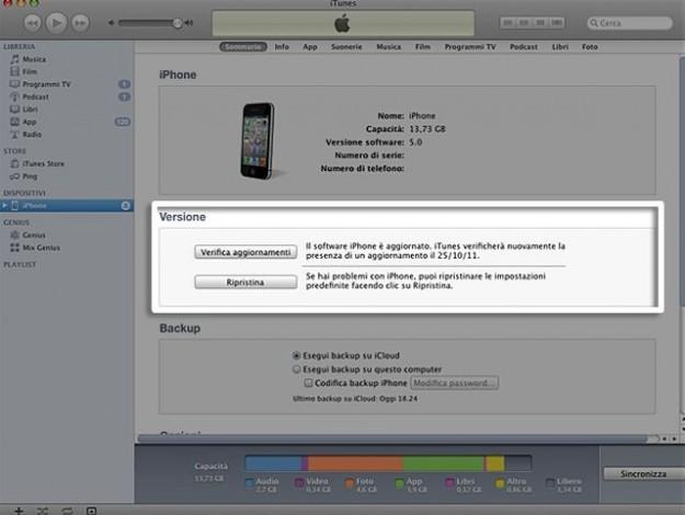 Verifica di iTunes