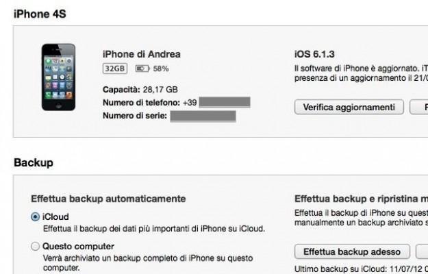 Aggiornamento con iTunes