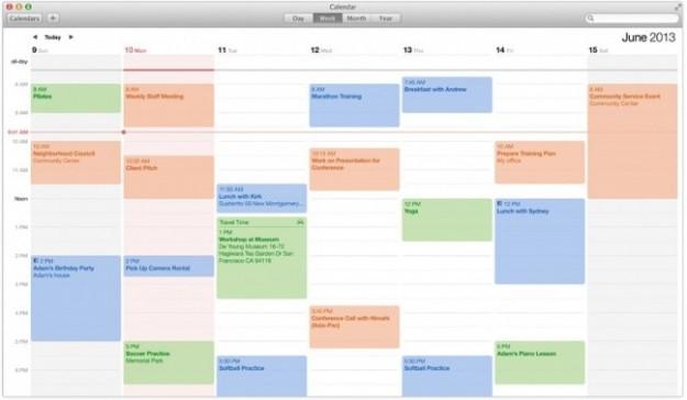 Calendario di OS X Mavericks