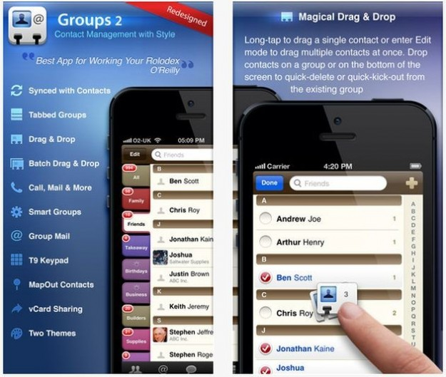 Groups SMS mail and Manage contacts