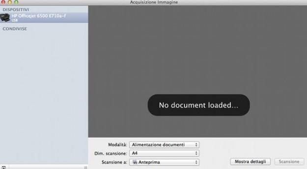 Acquisire immagini su Mac