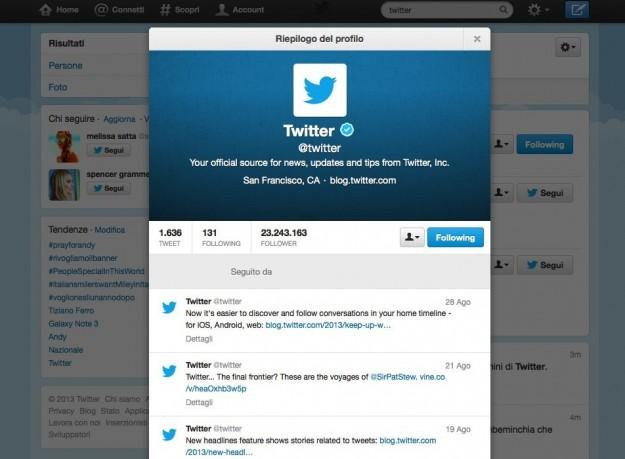 Il profilo di Twitter