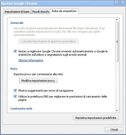 le opzioni di Chrome