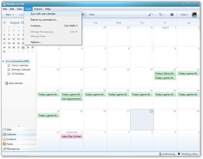 Windows Live Mail Calendar