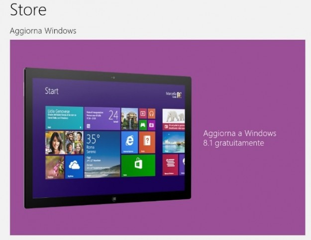 Windows 8.1 sullo Store