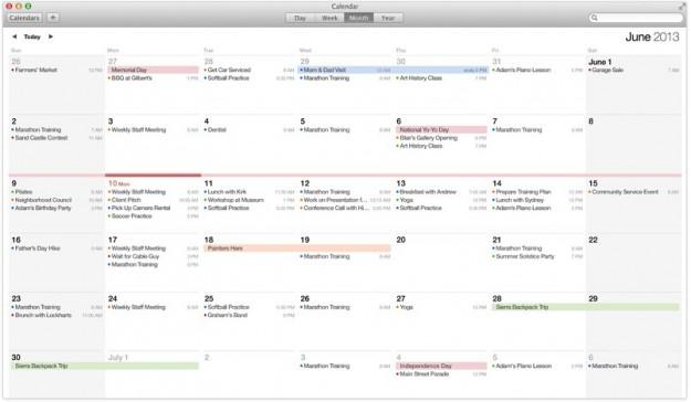 Vista mese nel calendario