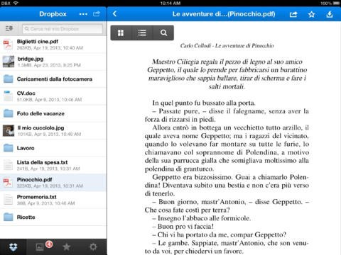 Dropbox su iPad