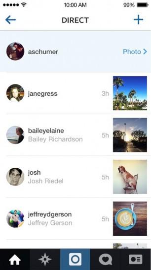 Lista messaggi su Instagram