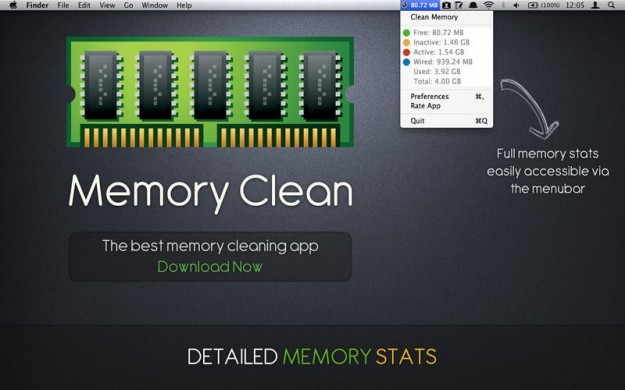 Memory Clean nell'area di notifica