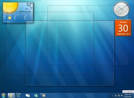 le finestre rese trasparenti per vedere il desktop