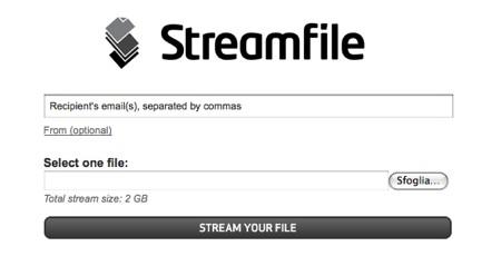 Streamfile è utile per inviare file, anche di grosse di