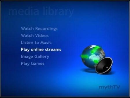 MythTV pagina home standard