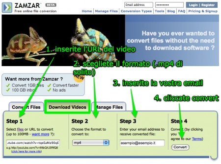 Come scaricare video da YouTube con Zamzar