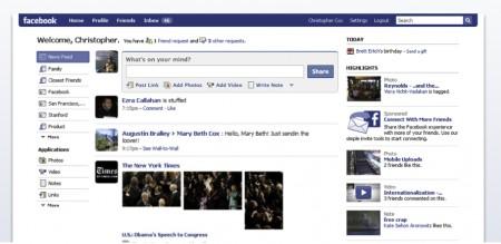Facebook nuova home