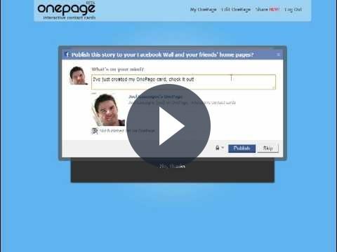 Creare biglietti da visita con MyOnePage